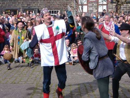 The Heptonstall Players performing their Pace Egg play in Weavers's Square, Heptonstall, West Yorkshire, England, on Good Friday 2007. © Peter Millington